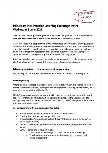 Learning Exchange report 9Jun21